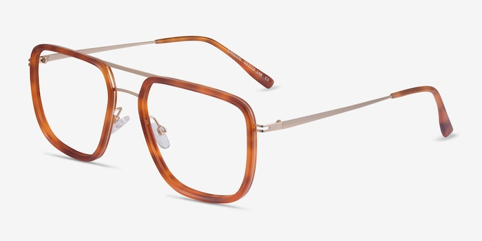 Cassian Tortoise Gold Acetate Eyeglass Frames from EyeBuyDirect, Angle View
