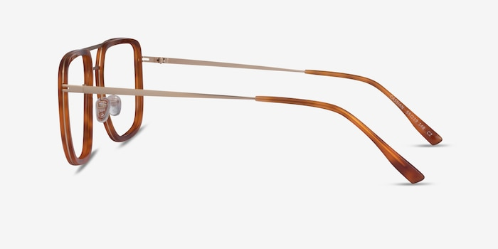 Cassian Tortoise Gold Acetate Eyeglass Frames from EyeBuyDirect, Side View