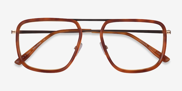 Cassian Tortoise Gold Acetate Eyeglass Frames from EyeBuyDirect, Closed View