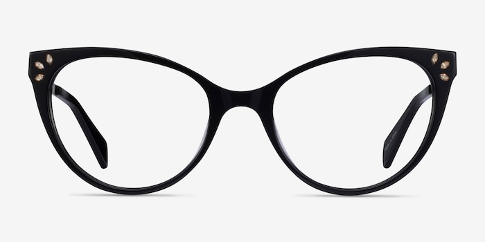 Beauty Black Acetate-metal Eyeglass Frames from EyeBuyDirect, Front View