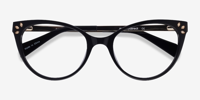 Beauty Black Acetate-metal Eyeglass Frames from EyeBuyDirect, Closed View