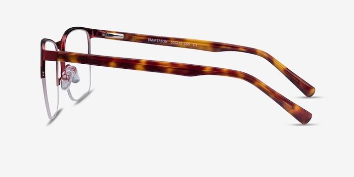 Emmerson Burgundy & Tortoise Acetate-metal Eyeglass Frames from EyeBuyDirect, Side View