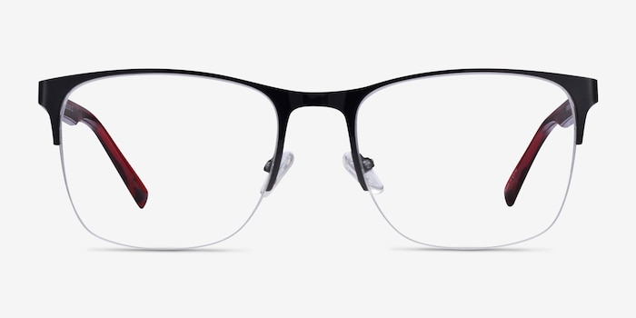 Emmerson Shiny Black & Red Acetate-metal Eyeglass Frames from EyeBuyDirect, Front View