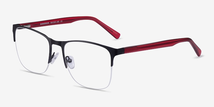 Emmerson Shiny Black & Red Acetate-metal Eyeglass Frames from EyeBuyDirect, Angle View