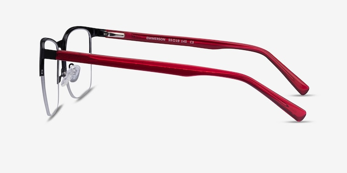 Emmerson Shiny Black & Red Acetate-metal Eyeglass Frames from EyeBuyDirect, Side View