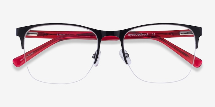 Emmerson Shiny Black & Red Acetate-metal Eyeglass Frames from EyeBuyDirect, Closed View