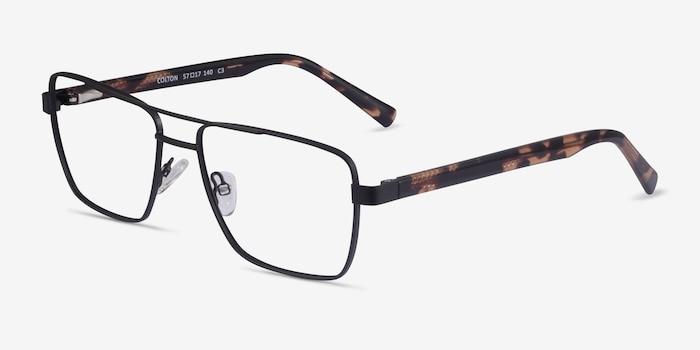 Colton Black & Tortoise Acetate Eyeglass Frames from EyeBuyDirect, Angle View