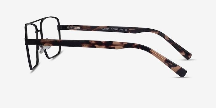 Colton Black & Tortoise Acetate Eyeglass Frames from EyeBuyDirect, Side View
