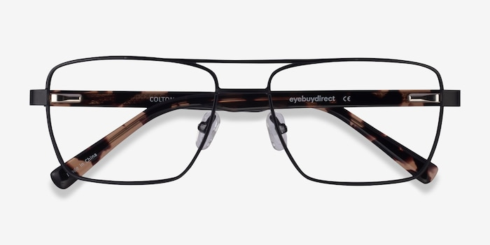 Colton Black & Tortoise Acetate Eyeglass Frames from EyeBuyDirect, Closed View