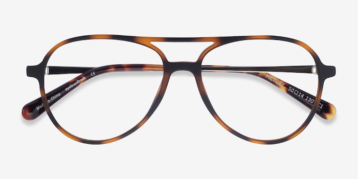 Picture Matte Tortoise   Silver Plastic-metal Eyeglass Frames from EyeBuyDirect, Closed View