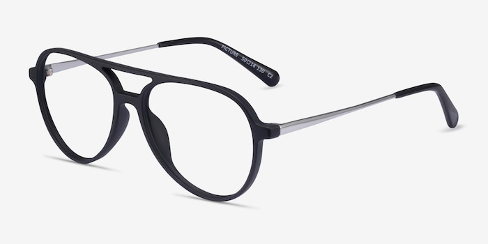 Picture Matte Black & Silver Plastic-metal Eyeglass Frames from EyeBuyDirect, Angle View