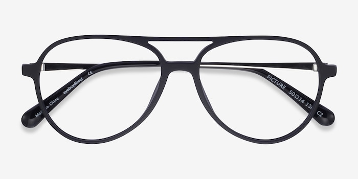Picture Matte Black & Silver Plastic-metal Eyeglass Frames from EyeBuyDirect, Closed View