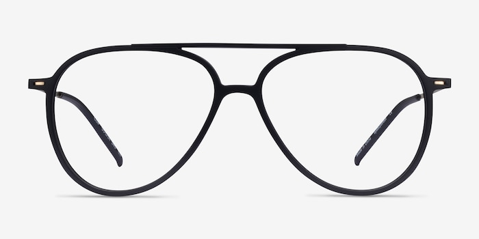 Clip Matte Black & Gold Plastic-metal Eyeglass Frames from EyeBuyDirect, Front View