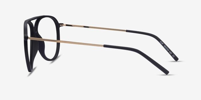 Clip Matte Black & Gold Plastic-metal Eyeglass Frames from EyeBuyDirect, Side View