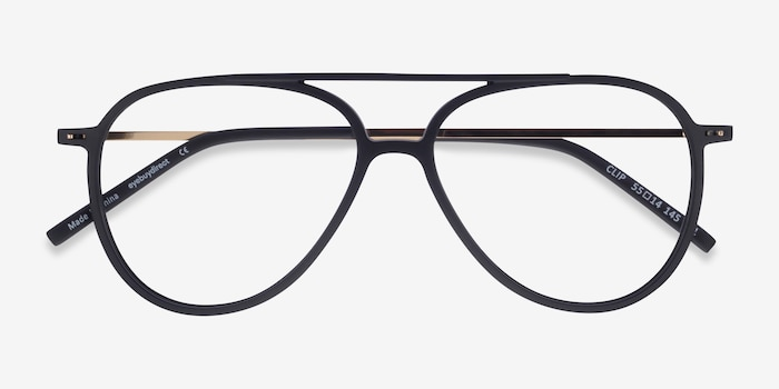 Clip Matte Black & Gold Plastic-metal Eyeglass Frames from EyeBuyDirect, Closed View
