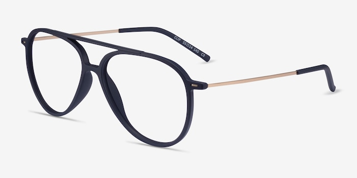 Clip Matte Navy & Gold Plastic-metal Eyeglass Frames from EyeBuyDirect, Angle View
