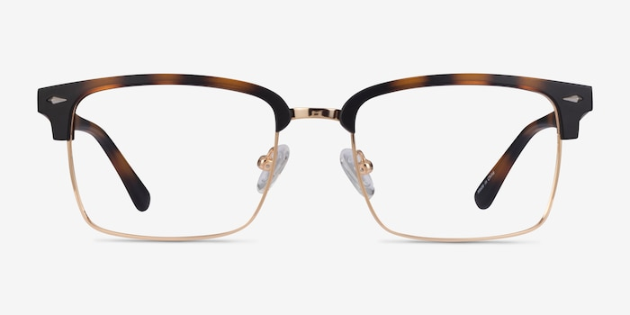 Renaissance Matte Tortoise & Gold Plastic Eyeglass Frames from EyeBuyDirect, Front View