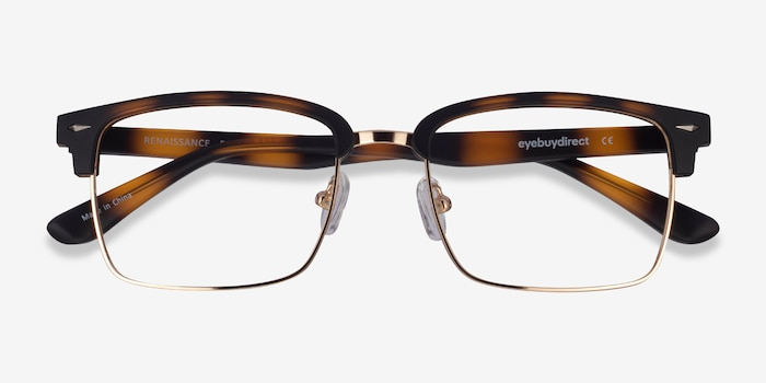 Renaissance Matte Tortoise & Gold Plastic Eyeglass Frames from EyeBuyDirect, Closed View