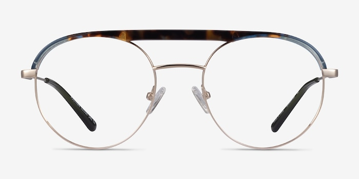 Volition Gold &Tortoise Acetate-metal Eyeglass Frames from EyeBuyDirect, Front View