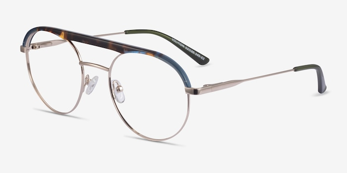Volition Gold &Tortoise Acetate-metal Eyeglass Frames from EyeBuyDirect, Angle View