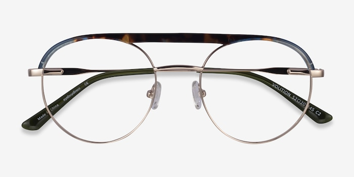 Volition Gold &Tortoise Acetate-metal Eyeglass Frames from EyeBuyDirect, Closed View