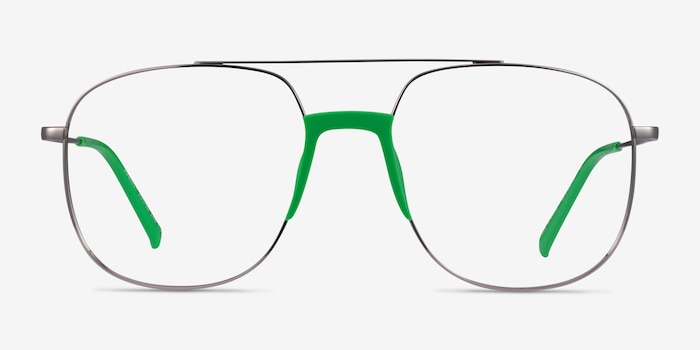 Subject Gunmetal & Green Acetate-metal Eyeglass Frames from EyeBuyDirect, Front View