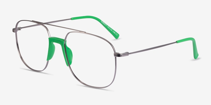 Subject Gunmetal & Green Acetate-metal Eyeglass Frames from EyeBuyDirect, Angle View