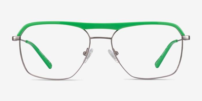 Dynamo Green & Gunmetal Acetate-metal Eyeglass Frames from EyeBuyDirect, Front View