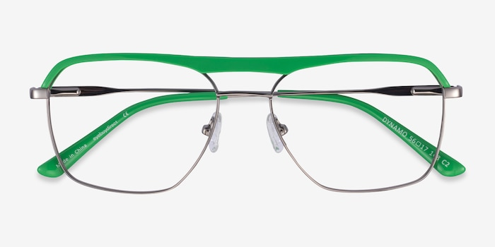 Dynamo Green & Gunmetal Acetate-metal Eyeglass Frames from EyeBuyDirect, Closed View