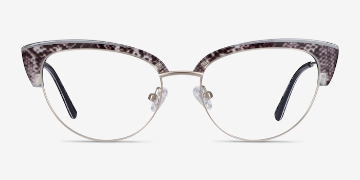 Essential Snake & Silver Acetate-metal Eyeglass Frames from EyeBuyDirect, Front View