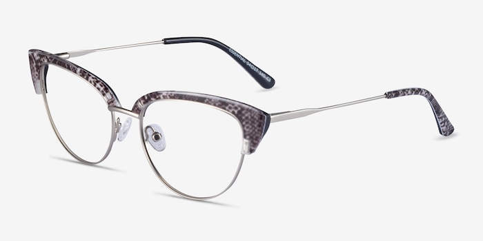 Essential Snake & Silver Acetate-metal Eyeglass Frames from EyeBuyDirect, Angle View
