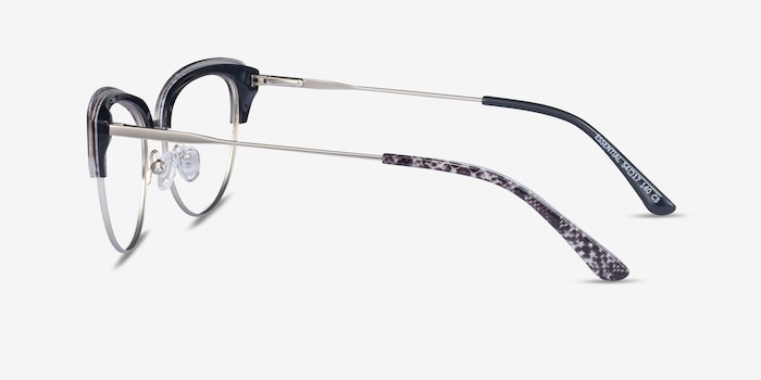 Essential Snake & Silver Acetate-metal Eyeglass Frames from EyeBuyDirect, Side View