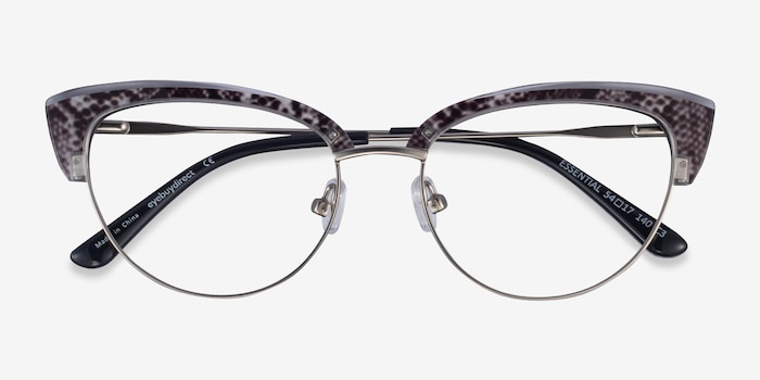 Essential Snake & Silver Acetate-metal Eyeglass Frames from EyeBuyDirect, Closed View