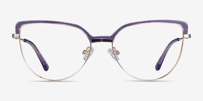 Dona Clear Purple & Gold Acetate-metal Eyeglass Frames from EyeBuyDirect, Front View