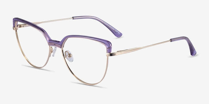 Dona Clear Purple & Gold Acetate-metal Eyeglass Frames from EyeBuyDirect, Angle View