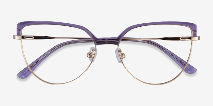 Dona Clear Purple & Gold Acetate-metal Eyeglass Frames from EyeBuyDirect, Closed View