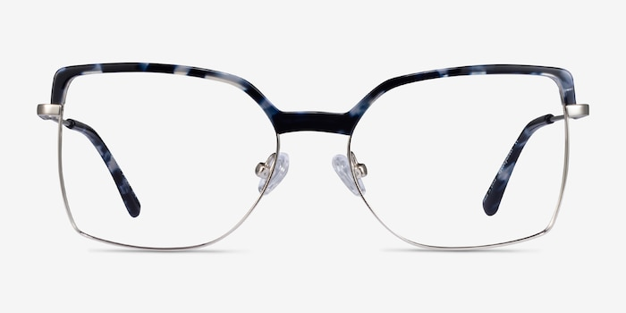 Further Blue Floral & Silver Acetate-metal Eyeglass Frames from EyeBuyDirect, Front View