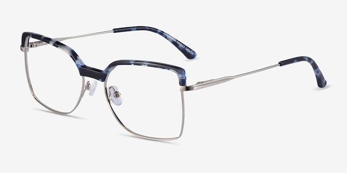 Further Blue Floral & Silver Acetate-metal Eyeglass Frames from EyeBuyDirect, Angle View