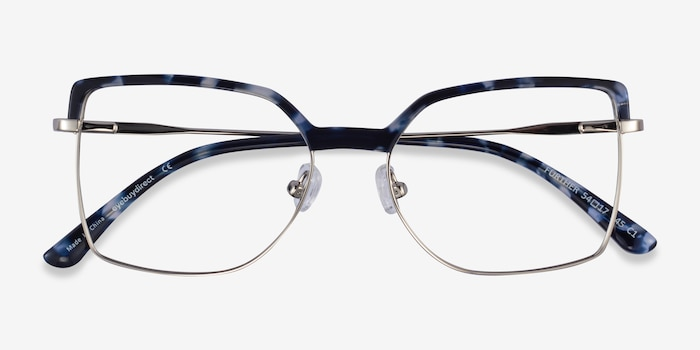 Further Blue Floral & Silver Acetate-metal Eyeglass Frames from EyeBuyDirect, Closed View