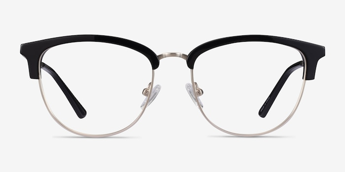Sophisticated Black & Silver Acetate-metal Eyeglass Frames from EyeBuyDirect, Front View