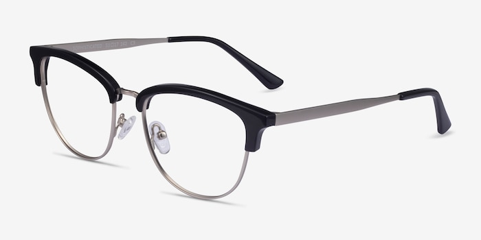 Sophisticated Black & Silver Acetate-metal Eyeglass Frames from EyeBuyDirect, Angle View