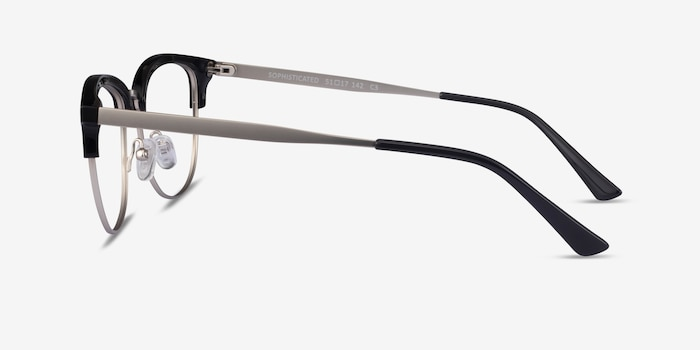 Sophisticated Black & Silver Acetate-metal Eyeglass Frames from EyeBuyDirect, Side View
