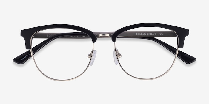 Sophisticated Black & Silver Acetate-metal Eyeglass Frames from EyeBuyDirect, Closed View