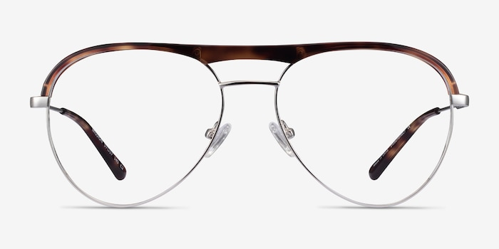 Mission Tortoise & Silver Acetate-metal Eyeglass Frames from EyeBuyDirect, Front View