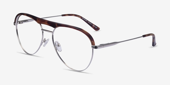 Mission Tortoise & Silver Acetate-metal Eyeglass Frames from EyeBuyDirect, Angle View