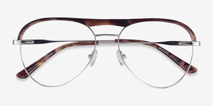 Mission Tortoise & Silver Acetate-metal Eyeglass Frames from EyeBuyDirect, Closed View