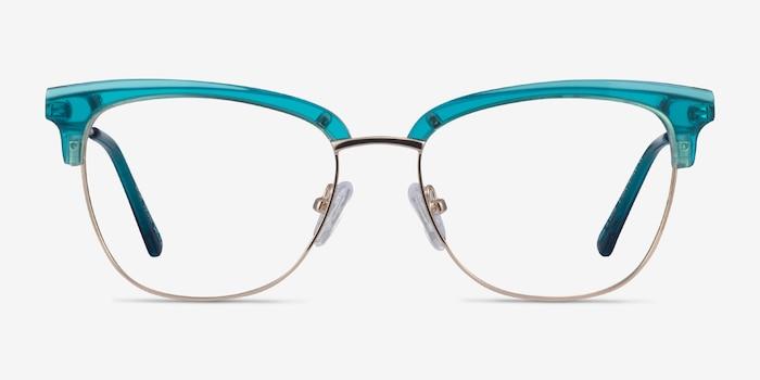 Gala Aqua & Gold Acetate-metal Eyeglass Frames from EyeBuyDirect, Front View