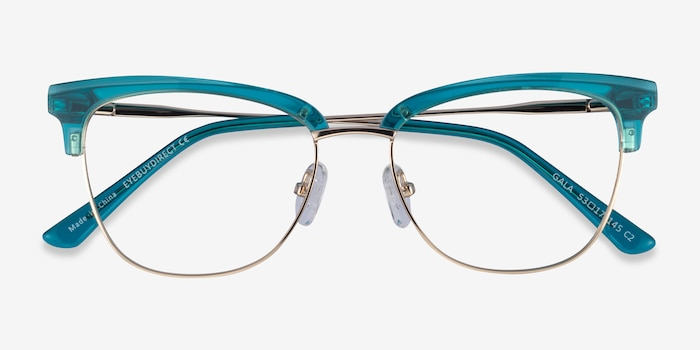 Gala Aqua & Gold Acetate-metal Eyeglass Frames from EyeBuyDirect, Closed View