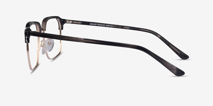 Break Gray Striped & Gold Acetate-metal Eyeglass Frames from EyeBuyDirect, Side View