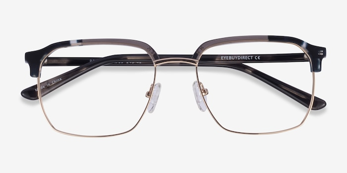 Break Gray Striped & Gold Acetate-metal Eyeglass Frames from EyeBuyDirect, Closed View
